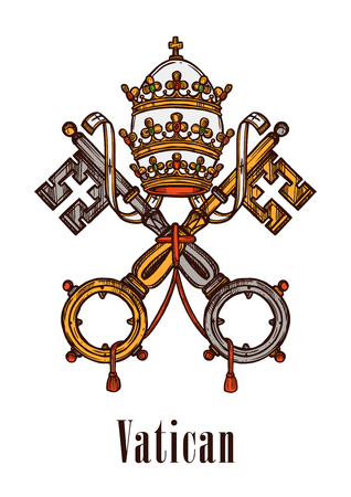 Vatican heraldic keys state official symbol on flag and coat of arms. heraldry emblem of vintage keys and ribbons, imperial or royal crown of monarchy government with catholic cross Ilustração