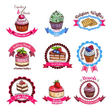 Pasteles y galletas de postre dibujar iconos de pastelitos o cupcakes, rosquillas y muffins, galletas belgas y tarta de galletas, galletas de chocolate brownie y pudín de panadería o pastelería Foto de archivo - 72227411