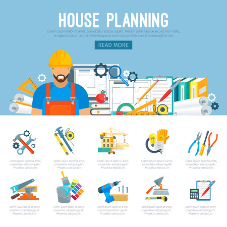 Building or house construction and repair planning infographics of work tools of carpenter worker measure ruler, helmet and drill, hammer and saw, wrench and screwdriver, trowel and paint brush
