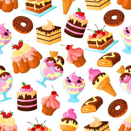 Pastry cakes and bakery desserts seamless pattern of biscuit cupcake or cheesecake, ice cream and donut or muffin, waffles and wafer tart, chocolate brownie cookie and patisserie pudding Illustration