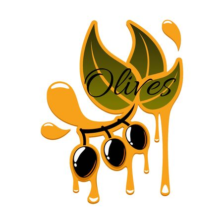 dressing: Olive oil of fresh black olives. icon of olive-tree branch with green leaves and ripe olive fruits with drips or drops. Isolated emblem or symbol for olive oil product bottle label