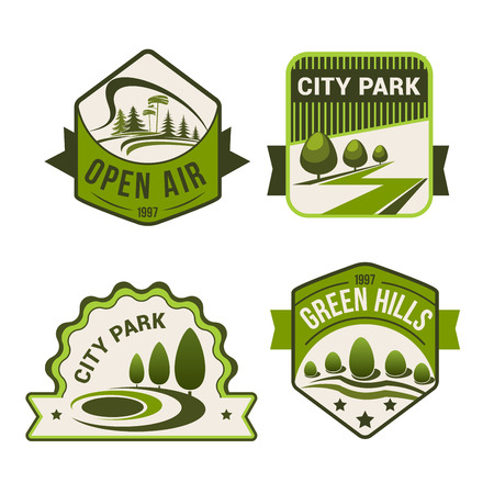 urban planning: City or urban outdoor park or green forest icons set of green trees and open air plants for horticulture landscape design, ecology environment company or planting and gardening service Illustration