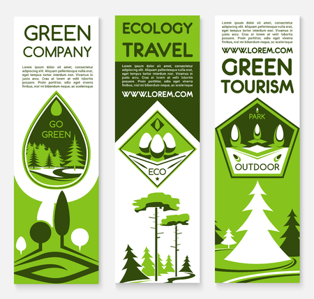 turismo ecologico: Ecology travel and green tourism banners set for environment protection and nature saving concept of forest and woodland park trees, waste-free or carbon free outdoor camping trip Vectores