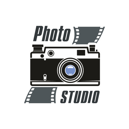 photography studio: Camera and photo film icon of retro photograph camera with flash light, photo capture lens. Isolated emblem or sign for photography or photographer school and studio