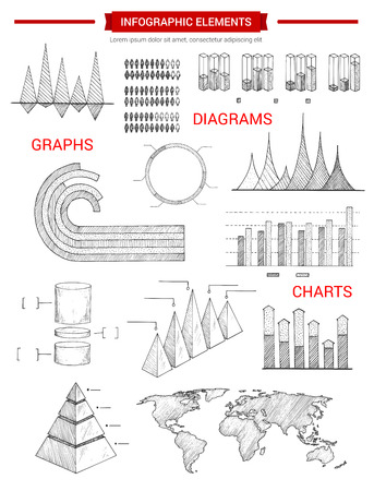 Infographic sketch elements or infochart graphs and icons set of business chart, pyramid diagram, demographics world statistics map, growth dynamics bars, economics data or marketing flowchart