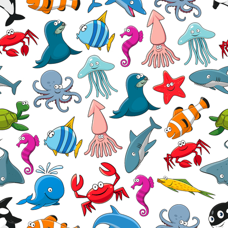 Fishes and ocean and sea animals seamless pattern of seal and clown fish or flounder, dolphin, whale and shark, starfish and seahorse, stingray and turtle, crab and octopus, squid and jellyfish Illustration