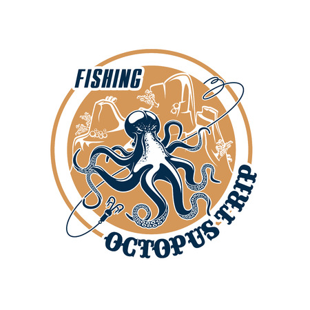 Octopus fishing trip icon with hooks tackle and fishnet snare or scoop-net grid and ocean underwater animal. Emblem for fishery or seafood company, fisherman or fisher trip sport adventure club
