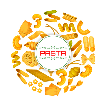 Pasta poster of spaghetti and fettuccine, tagliatelle or bucatini, pappardelle and penne, farfalle and and lasagna, ravioli or creste gallo, stelle and filini of Italian food cuisine Illustration