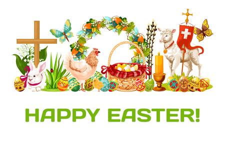Vacances de printemps de Pâques. Oeufs de Pâques décorés dans un panier, lapin, poulet avec poussin, agneau de Dieu, couronne florale de Pâques avec oeufs, lys et fleurs de tulipe, bougie, croix, papillon et saule