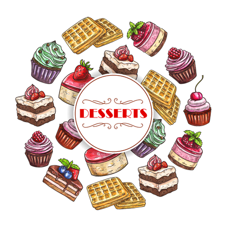 Pastry desserts and bakery or patisserie cakes poster of cupcake or cheesecake, chocolate brownie pie and biscuit cookie or pudding, ice cream and donut or muffin, waffle tart or wafer torte Illustration
