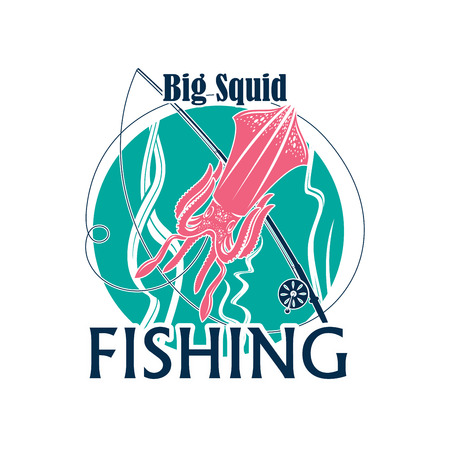 Squid fishing icon or emblem of seafood fishery with cuttlefish or calamari mollusk. Round badge of fisherman adventure club with seaweed and fisher tackle and fish rod with bait Vettoriali