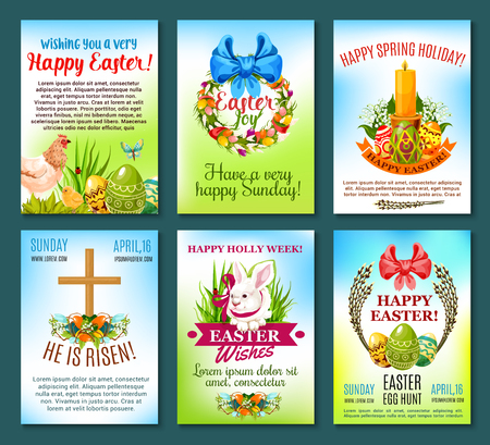 Easter holiday celebration banner template set. Easter egg and spring flower wreath, rabbit bunny with ribbon, chicken, chick, cross, candle, lily and tulip flower, pussy willow tree branches with bow Illustration