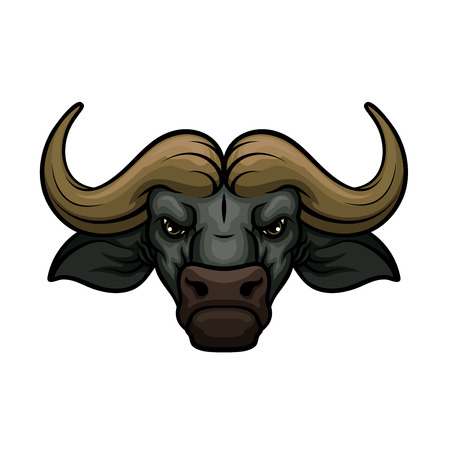 Black buffalo mascot icon of wild bull or african bison bovine animal muzzle or snout with horns. Isolated emblem or blazon for sport team, nature adventure club or tattoo sign Illustration