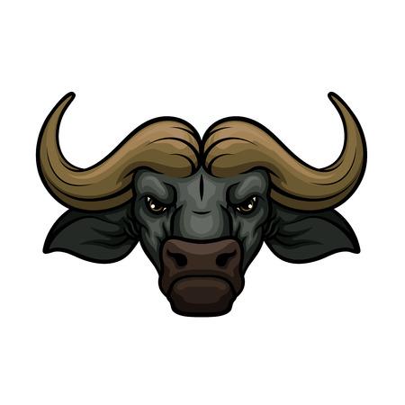 Zwarte buffel mascottepictogram van wilde stier of Afrikaanse bizon runder snuit of snuit met hoorns. Geïsoleerde embleem of blazoen voor sportploeg, natuur avonturenclub of tatoeage teken