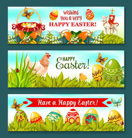 egg hunt: Cheerful Easter Holiday banner set. Easter eggs on grass with egg hunt basket, chicken and chick, spring flower arrangement with lily, tulip and painted egg, lamb of God with cross. Easter card design