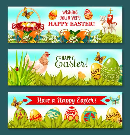 Vrolijk Pasen Holiday banner set. Paaseieren op gras met eieren zoeken mand, kip en kuiken, de lente bloemstuk met lelie, tulp en beschilderde eieren, lam van God met kruis. De kaart van Pasen ontwerp