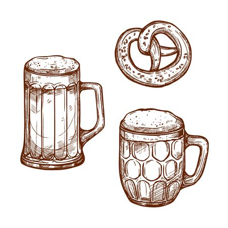 Beer glass mugs and snack pretzel bread sketch . Sketched frothy or foamy ale or lager and draught beer pint in mug or barrel with salted bagel for beer bar and brewpub or pub