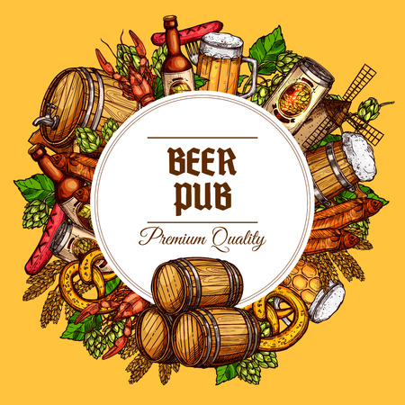 Beer pub poster of beer tancard and barrel, sausage barbecue and meat snacks, draught and lager beer can and bottle, oktoberfest pretzel and fish, seafood lobster or crab, hop and malt mill Ilustrace