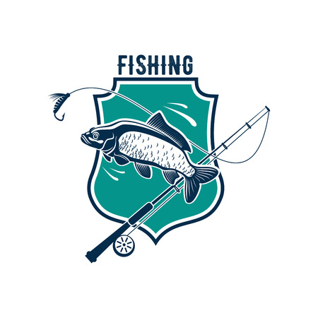 Fishing icon or isolated emblem badge of carp or salmon tout fish catch, fish-rod tackle of hook and bait lure for fisher club, fisherman sport adventure or fishery industry
