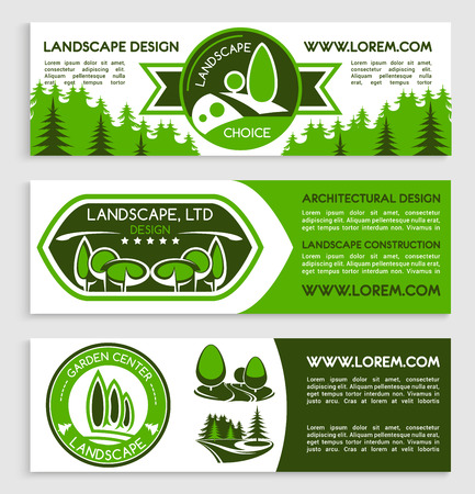 plants and trees: Landscape and gardening service company banners for design project of garden of green plants and trees, eco environment horticulture build Illustration