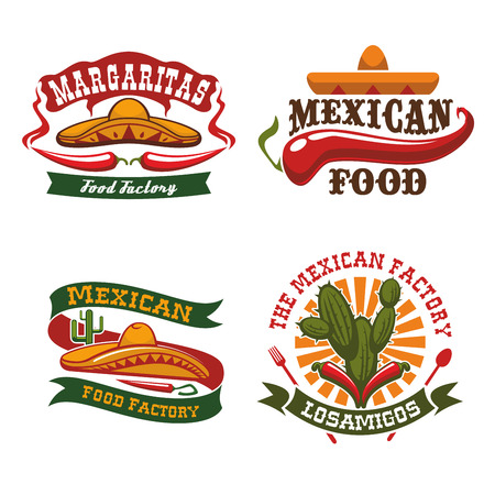 Mexican Cuisine Icons Of Sombrero Hat Chili Pepper Jalapeno