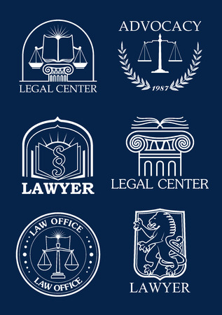 legal law: Legal icons for advocacy or lawyer of justice scales, heraldic laurel wreath and law code book, lion and column pillar symbols for advocate and justice attorney office, counsel and notary