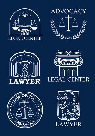 Rechtliche Ikonen für die Interessenvertretung oder Rechtsanwalt der Justizschuppen, heraldischer Lorbeerkranz und Gesetzescode Buch, Löwe und Säule Säule Symbole für Anwalt und Justiz Anwalt Büro, Rat und Notar