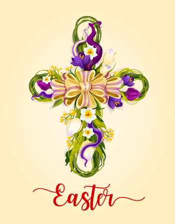 Easter cross with spring flowers greeting card. Flowers of tulip, narcissus and crocus with green leaves arranged into shape of crucifix with ribbon bow in center. Easter holiday festive poster design