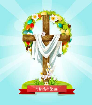Easter Sunday Lenten Cross, He Is Risen greeting card. Wooden cross with blooming spring flowers and Easter egg wreath with narcissus and crocus flower. Easter holiday themes design