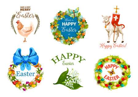 Happy Easter Day cartoon label set. Decorated Easter eggs wreath with spring flowers, butterflies and ribbon bow, chicken, lamb of God with cross, lily of the valley bunch and willow tree shoots