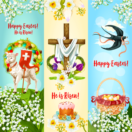 Happy Easter, He is Risen festive banner. Easter egg hunt basket, Easter cake with decorated eggs, cross with spring flowers, lamb of God, floral wreath and flying swallow bird cartoon poster design