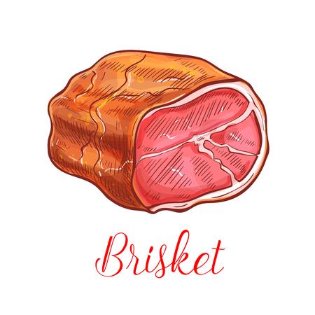 Brisket vector sketch icon of ham or bacon lump. Ilustrace