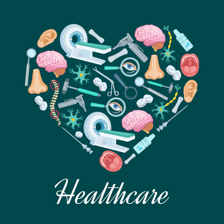 Heart symbol or poster with healthcare medicines of MRI scanner, surgery and otolaryngology instruments syringe, scissors and otoscope, pills and human brain organ, spine, nose and ear or nerve cells Illustration