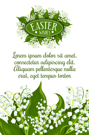 lily: Easter Wishes greeting card. White lily of the valley flowers with green leaves and text layout for your wishes. Easter spring holiday festive banner or poster design