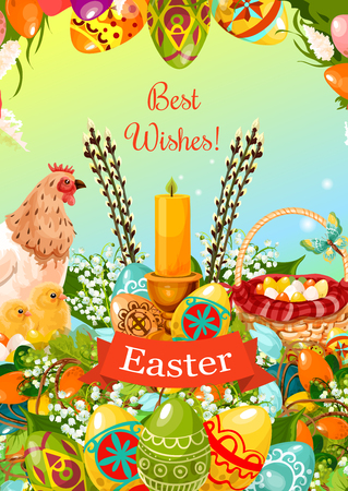 Easter greeting card with patterned and coloured Easter eggs with candle, chicken, chick, egg hunt basket, flowers of lily and tulip, willow tree twig and grapevine. Easter spring holiday design