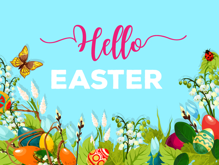 Easter Egg Hunt meadow cartoon poster. Decorated Easter eggs hidden in green grass, spring flower, willow twig and flying butterfly with blue sky on background. Spring holidays greeting card design Иллюстрация