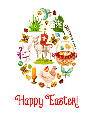 Easter egg poster with holiday symbols. Patterned Easter eggs, rabbit bunny, egg hunt basket, lily of the valley flowers, chicken, chick, lamb of God with cross, green grass and butterfly