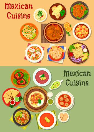 Mexican cuisine dinner dish icon of meat, cheese tortilla, chicken burrito, vegetable beef stew, chilli tomato, salsa bean, meatball, chicken, fish soups, beef steak, fried cod and chicken wings