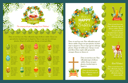 Easter greetings template for poster banner or card design easter greetings template for poster banner or card design easter eggs and spring flower maxwellsz