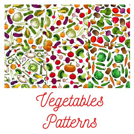 fresh vegetable: Vegetables patterns set. Vector seamless pattern of farm fresh vegetable flat icons on white background. Vegetarian nutrition farm organic products. Vegan food tomato, pepper, broccoli, peas, daikon radish, cauliflower, cabbage, cucumber