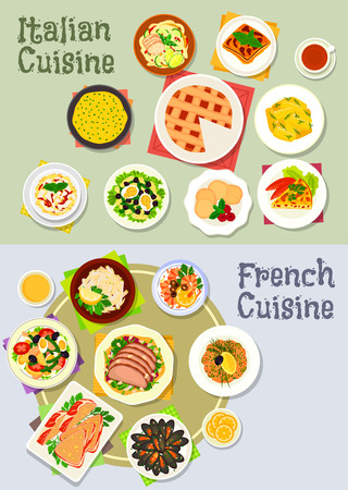 Italian and french cuisine icon set of pasta with ham, tuna, chicken, seafood and meat salads, vegetable dumpling and casserole, polenta, mussel, pate in bacon, tomato pie, cheesecake, cookie