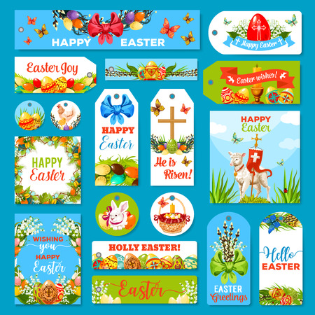 Easter tag set. Spring holiday labels with Easter eggs, rabbit bunny, chicken, egg hunt basket, lily and tulip flower wreath, lamb of God with cross, willow tree twigs with ribbon bow and candle