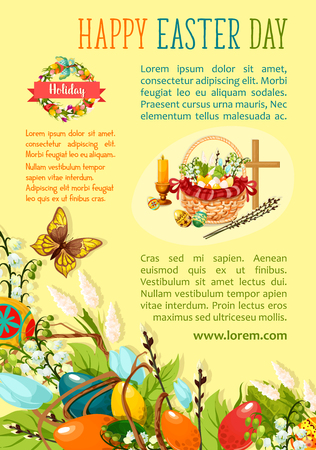 twigs: Easter Egg Hunt poster template. Decorated easter eggs with spring flowers in wicker basket with cross, candle and willow tree twigs, floral Easter wreath with ribbon banner and flying butterflies