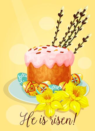 cake with icing: Easter cake with eggs greeting card. Easter sweet bread with sugar icing and painted eggs on plate, decorated with narcissus flowers and pussy willow tree shoots. Easter holiday tradition theme design