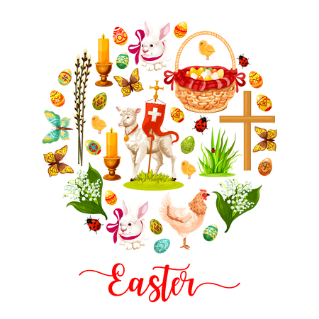 Easter round poster made up of cartoon rabbit bunny with ribbon, Easter egg, spring flower, egg hunt basket, chicken, chick, lamb of God, cross, candle, green grass, butterfly and willow twig symbols