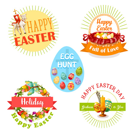 Easter holiday and egg hunt celebration label set. Easter eggs, spring flower wreath, basket, Easter lamb, cross and candle, supplemented by ribbon banner and sunbeams