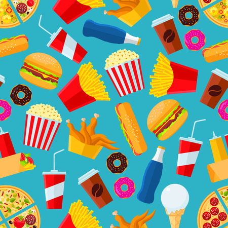 Fast food seamless background. Wallpaper with vector sketch pattern of snacks and drinks pizza slice, chicken leg, fries, hot dog, cheeseburger, coffee, mayonnaise, ketchup, soda drink, ice cream scoop, pop corn, donut