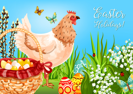 Easter chicken with eggs greeting card. Easter egg hunt basket on green grass with decorated eggs, chicken, lily flowers, willow tree branches and flying butterfly. Spring holiday poster design