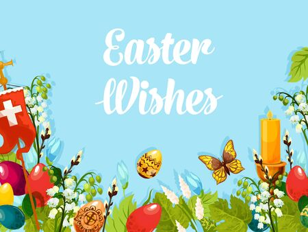Easter holiday floral composition of patterned Easter eggs, lily and snowdrop flowers, cross, flaming candle, green grass and leaf, butterfly and willow branch for poster or card design Çizim