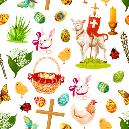 Easter holiday symbols seamless pattern background with Easter egg, rabbit bunny, spring flower, chicken, egg hunt basket, chick, lamb of God, cross, candle, butterfly, willow tree twig and ladybird